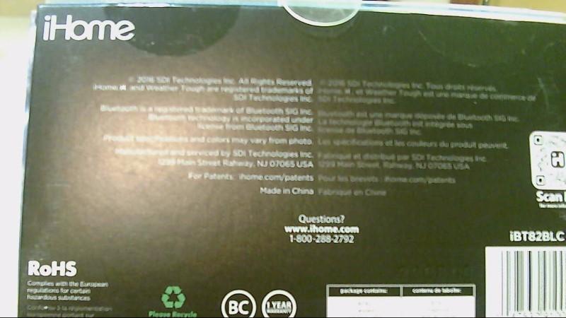 iHome Waterproof Shockproof Wireless Speaker iBT82BLC