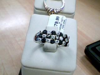 Synthetic Sapphire Lady's Silver-Diamond & Stone Ring 14 Diamonds 0.14 Carat T.W