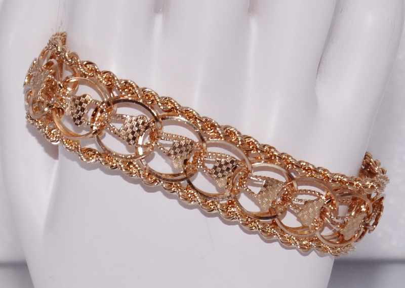 "7.5"" 14K Yellow Gold Chunky Ornate Rope & Checker Detail Woven Link Bracelet"