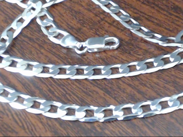 """CURB CUBAN LINK NECKLACE CHAIN 14K WHITE GOLD ITALY 17.3g 5mm 22"""""""