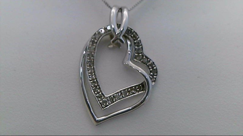 Sterling Silver Round Diamond Heart Necklace and Earring Set