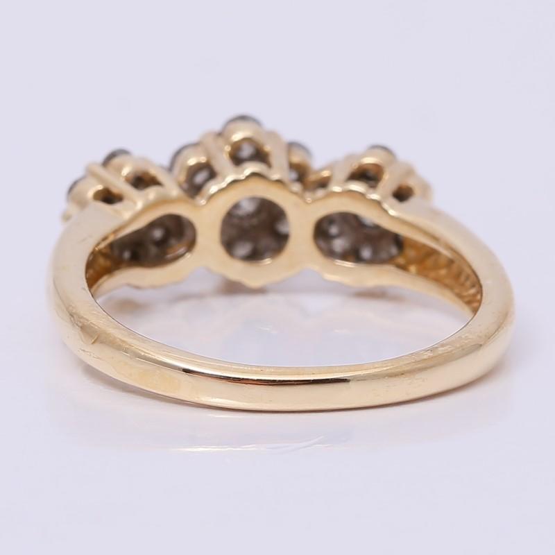 14K Yellow Gold Round Brilliant Diamond Triple Cluster Ring Size 9