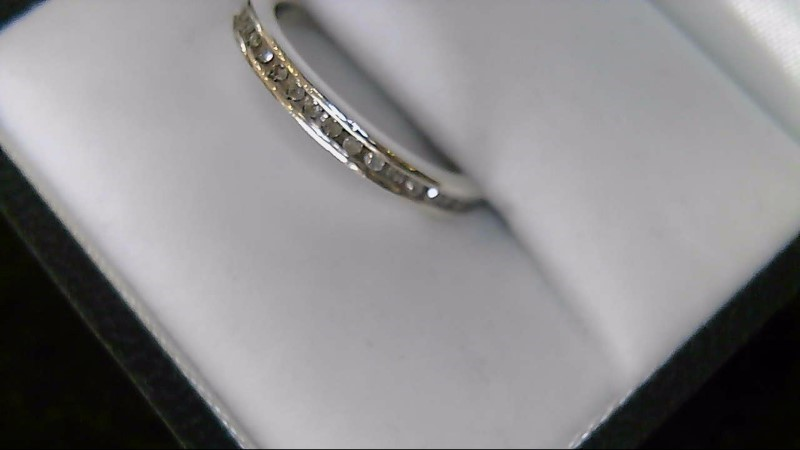 Lady's sterling silver 925 round diamond band sz 6