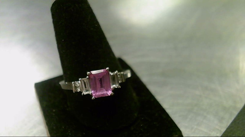 Pink Stone Lady's Stone Ring 10K White Gold 2.1g