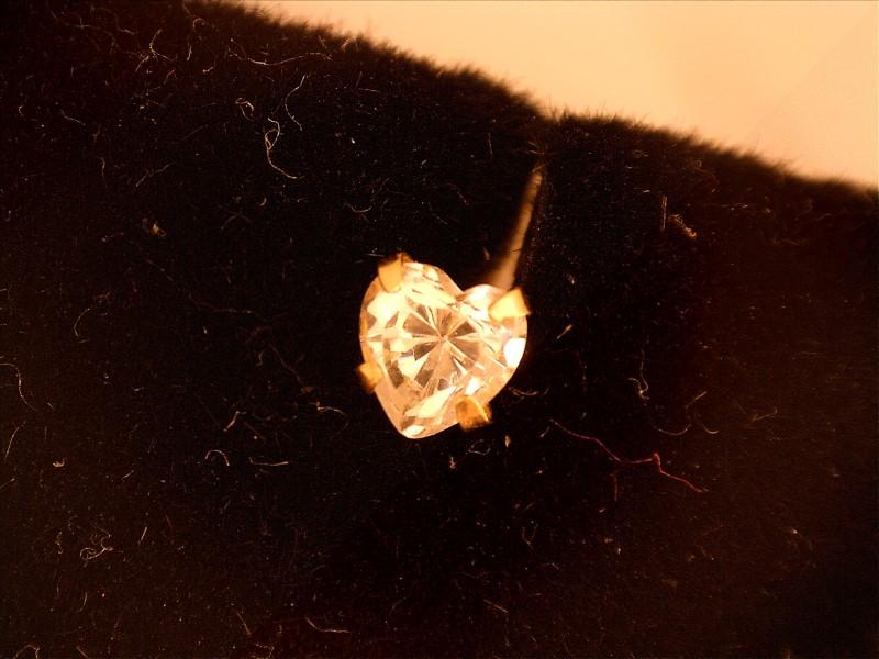 White Stone Gold-Stone Earrings 14K Yellow Gold 0.2dwt