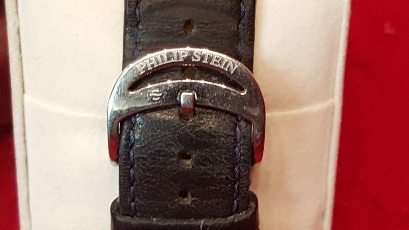 Philip Stein Mens Prestige Black & Rose Gold Dial Black Band
