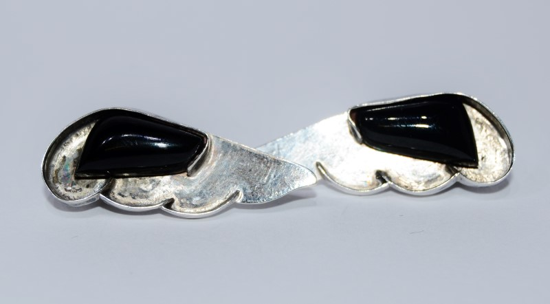 Sterling Silver Black Onyx Angel Wings Clip On Earrings