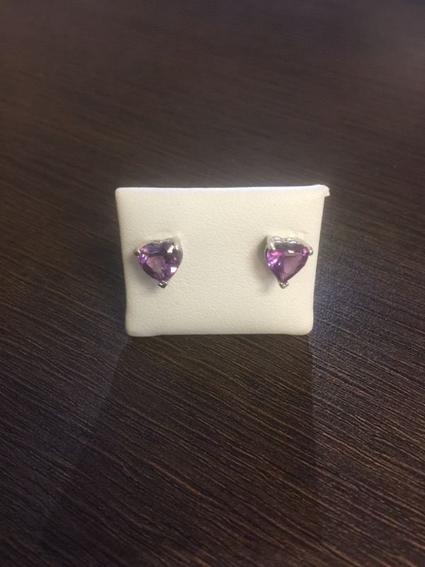 Purple Stone Gold-Stone Earrings 14K White Gold 1.5g