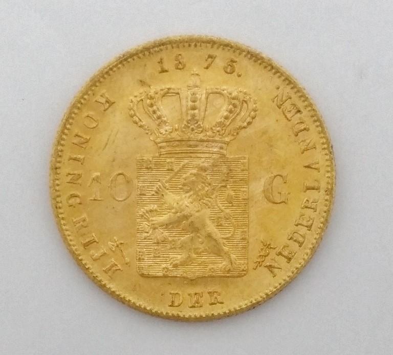 Netherlands - 10 Gulden Gold Coin - 1875 - .900 Pure gold