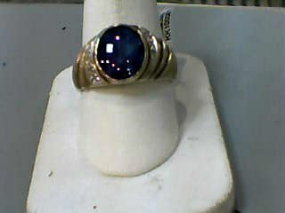 Synthetic Black Star Sapphire Gent's Stone Ring 10K Yellow Gold 3.6dwt Size:10