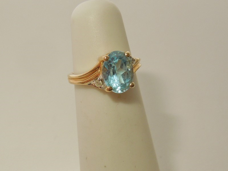 Synthetic Aquamarine Lady's Stone & Diamond Ring 2 Diamonds .02 Carat T.W.