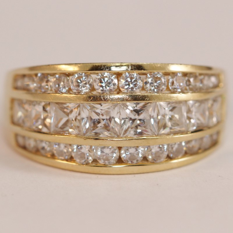 14K Yellow Gold Cz Cluster Ring Size 8