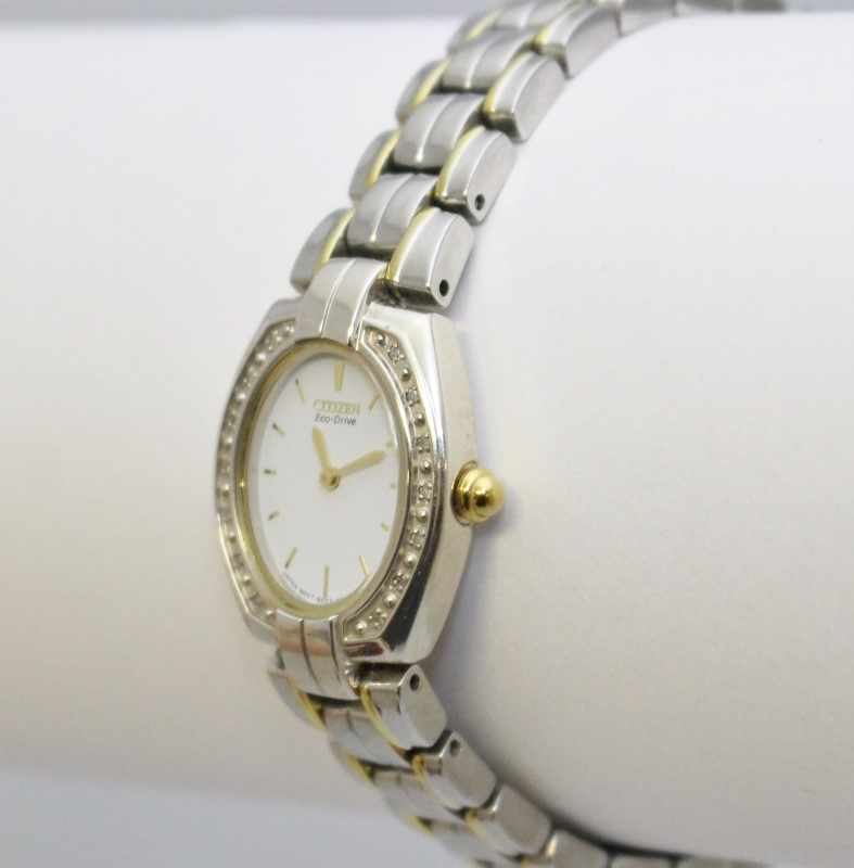 Citizen Eco-Drive Women's Two Tone Diamond Bezel White Face Bracelet Watch