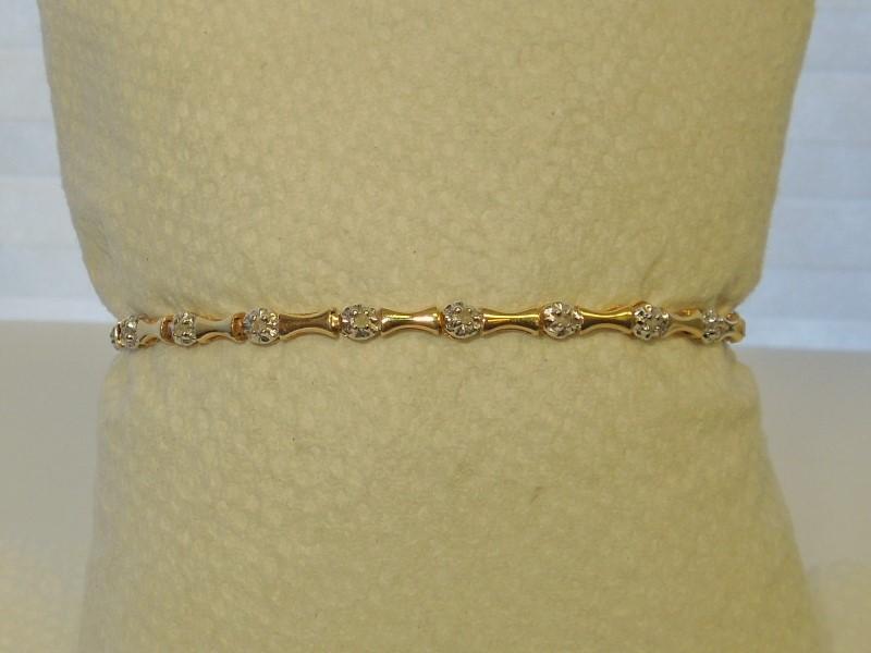 Gold-Diamond Bracelet 20 Diamonds .20 Carat T.W. 10K Yellow Gold 4.4g