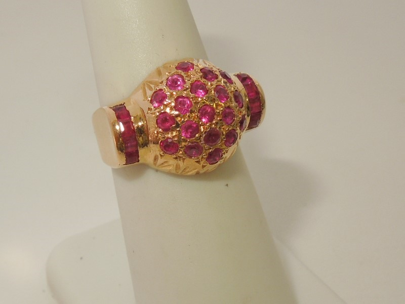 Synthetic Ruby Lady's Stone Ring 18K Rose Gold 6.2g
