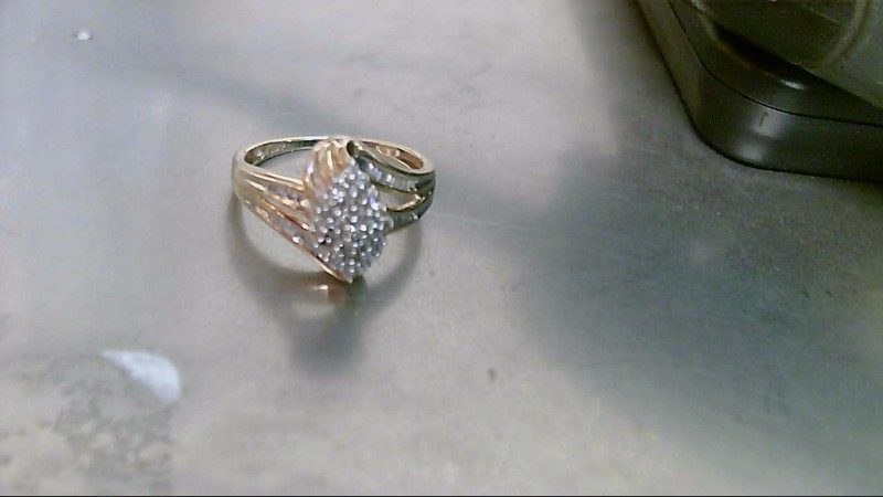 Lady's Diamond Cluster Ring 52 Diamonds .260 Carat T.W. 10K Yellow Gold 2.9g