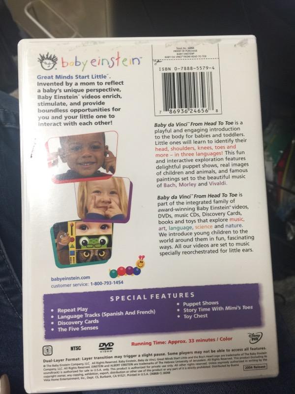 DVD BABY EINSTEIN BABY DA VINCI FROM HEAD TO TOE