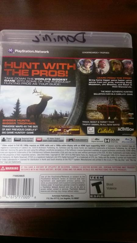 SONY PLAYSTATION 3 CABELA'S BIG GAME HUNTER PRO HUNTS VIDEO GAME