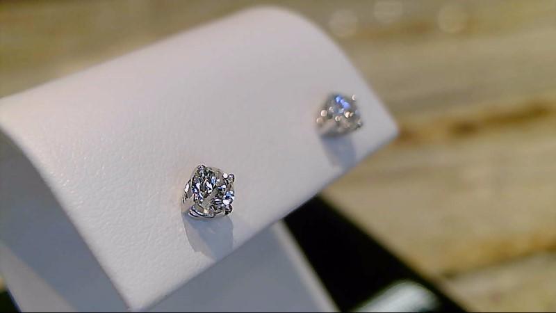 Gold-Diamond Earrings 2 Diamonds .50 Carat T.W. 14K White Gold 0.8g