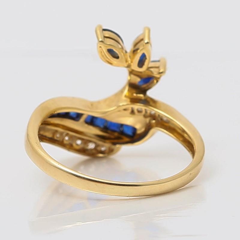 10K Y/G Channel Set & Leaf Design Sapphire & Diamond Ring Size 5.5
