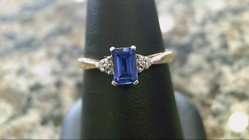 Lab Created Sapphire and Diamond 18K Yellow Gold Ring