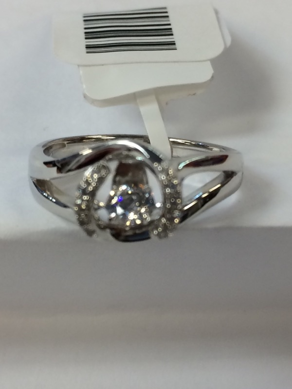 Synthetic Cubic Zirconia Lady's Silver & Stone Ring 925 Silver 2.5g Size:6