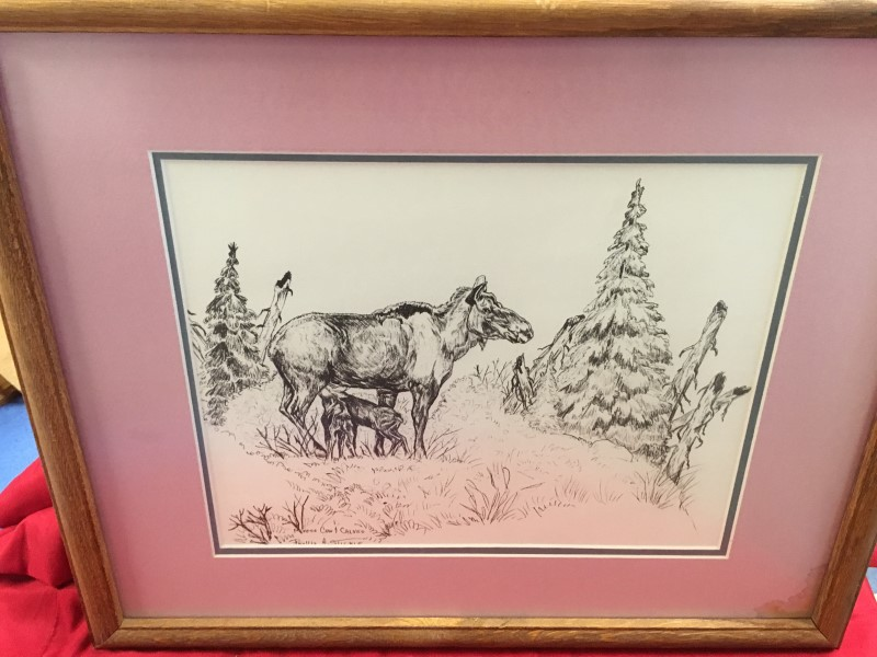 MOOSE COW AND CALVES BY PHYLLIS STICKLE