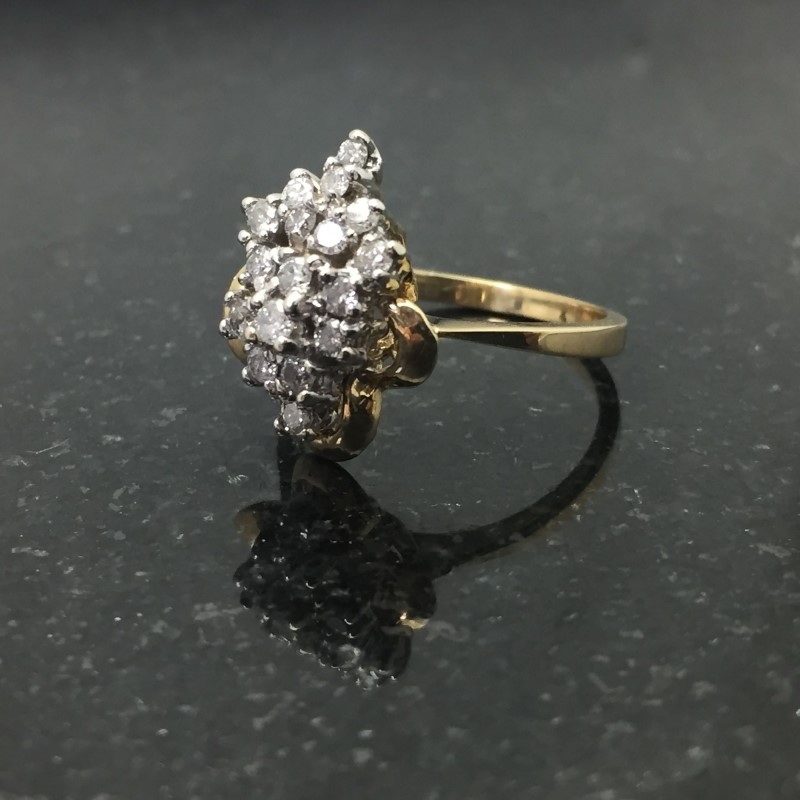 Lady's Diamond Cluster Ring 18 Diamonds .36 Carat T.W. 14K Yellow Gold 3.4dwt