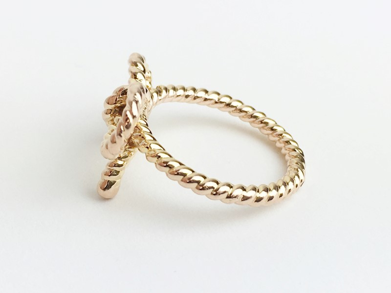 Lady's Gold Ring Bow 14K Rose Gold 3.75g
