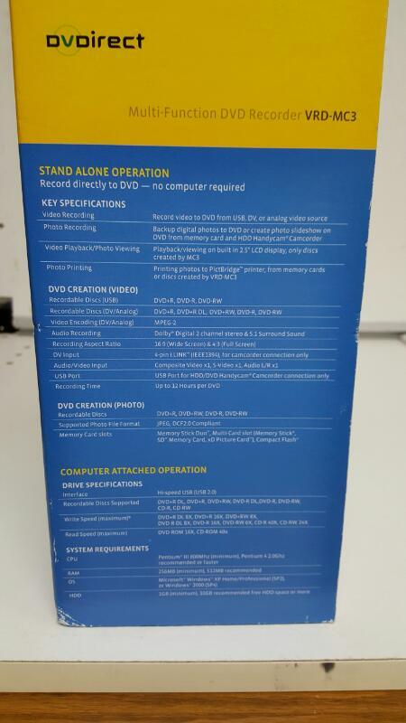 Sony DVDirect Mutli-Function DVD Recorder VRD-MC3