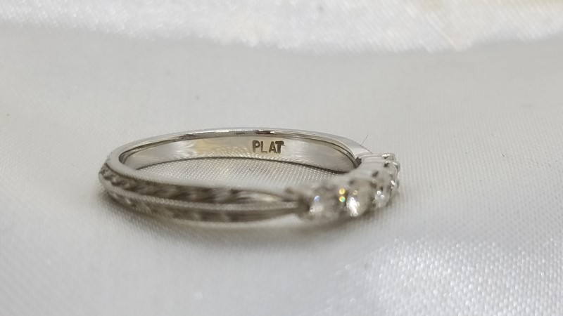 Lady's Platinum-Diamond Anniversary Ring 5 Diamonds .50 Carat T.W. 950 Platinum
