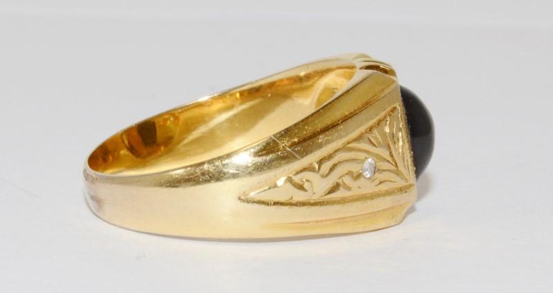 14K Men's Yellow Gold Bezel Tiger Eye & Diamond Ring Size 10.5