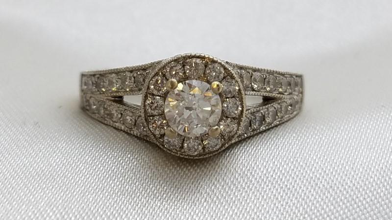 Lady's Diamond Engagement Ring 37 Diamonds .40 Carat T.W. 14K White Gold 5.3g