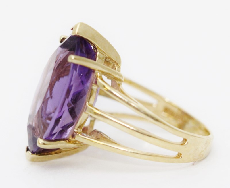 10k Yellow Gold Large Marquise Cathedral Set Amethyst Ring Size 5
