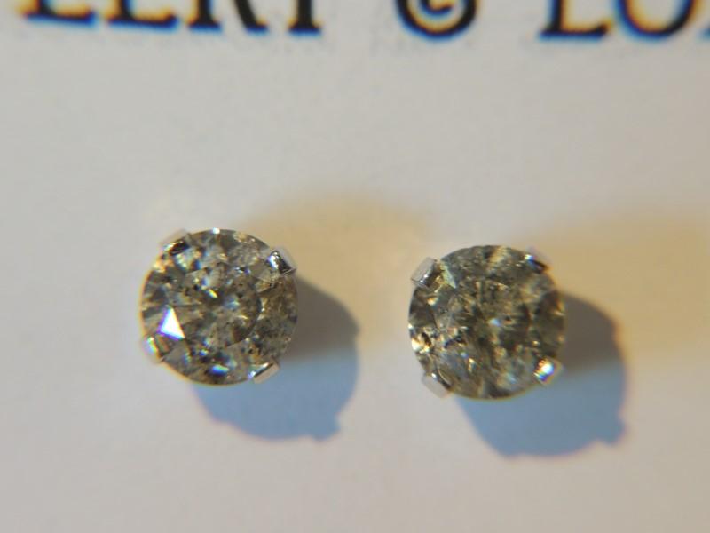 Gold-Diamond Earrings 2 Diamonds 1.32 Carat T.W. 14K White Gold 1g