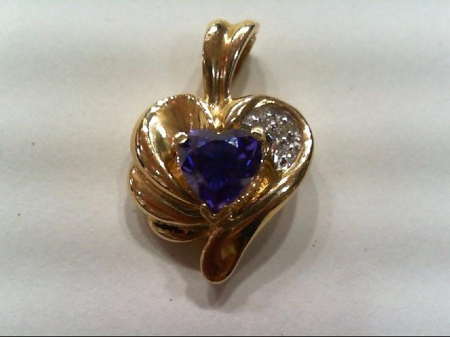 Gold-Multi-Diamond Pendant 3 Diamonds .03 Carat T.W. 10K Yellow Gold 2.8g