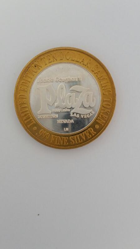 Limited Edition Union Plaza Casino Las Vegas $10 Ten Gaming Token .999 Silver