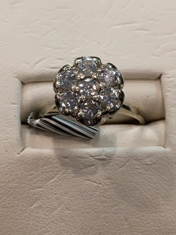 Lady's Diamond Cluster Ring 7 Diamonds .49 Carat T.W. 10K White Gold 2.7dwt