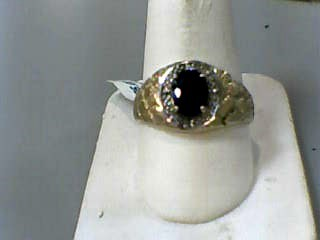Synthetic Sapphire Gent's Stone Ring 10K Yellow Gold 2dwt