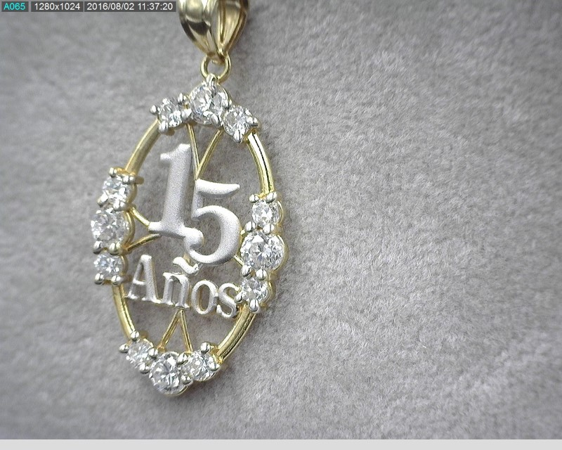"14K TWO TONE ""15 ANOS"" PENDANT W/ 18"" CHAIN"