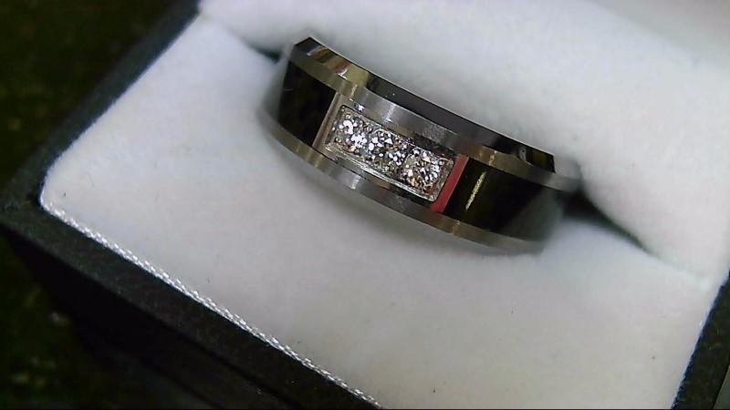 Gent's Black & Carbon Tungsten 3 Diamond Wedding Band Sz 9.5