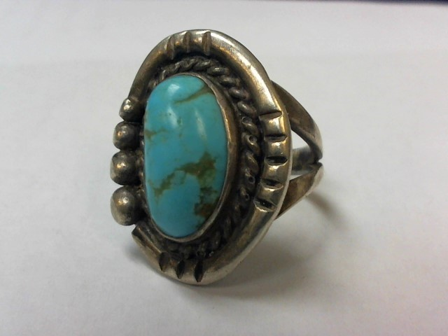 Turquoise Lady's Silver & Stone Ring 925 Silver 7.2g