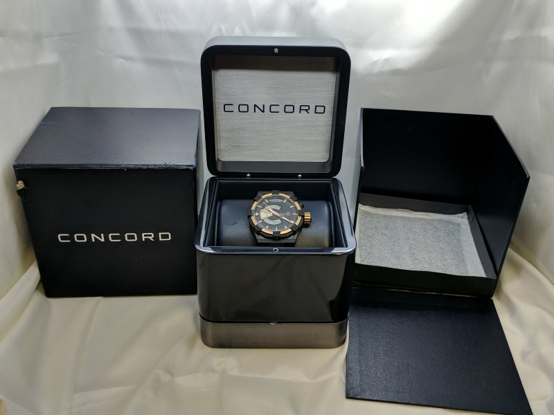 CONCORD C1 WORLDTIMER 18K Rose Gold Black Stainless Steel Gent's Wristwatch +BOX