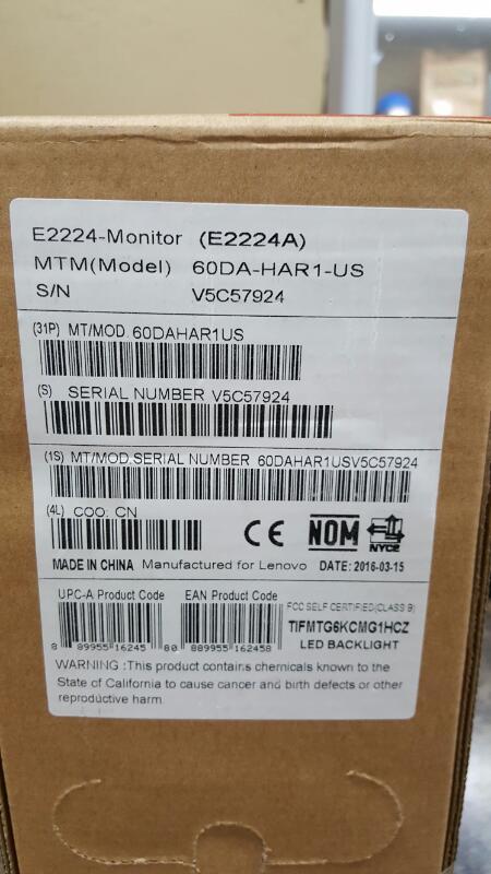 "Lenovo Thinkvision Monitor E2224A Led 21.5"" Flat Panel, Backlight"