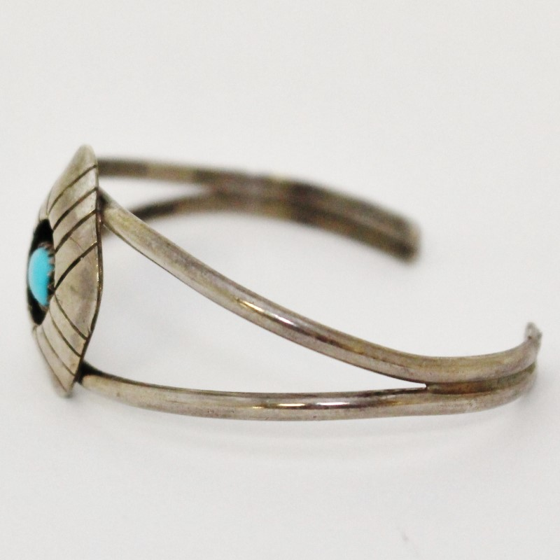 Sterling Silver Open Work Split Turquoise Shield Cuff Bracelet
