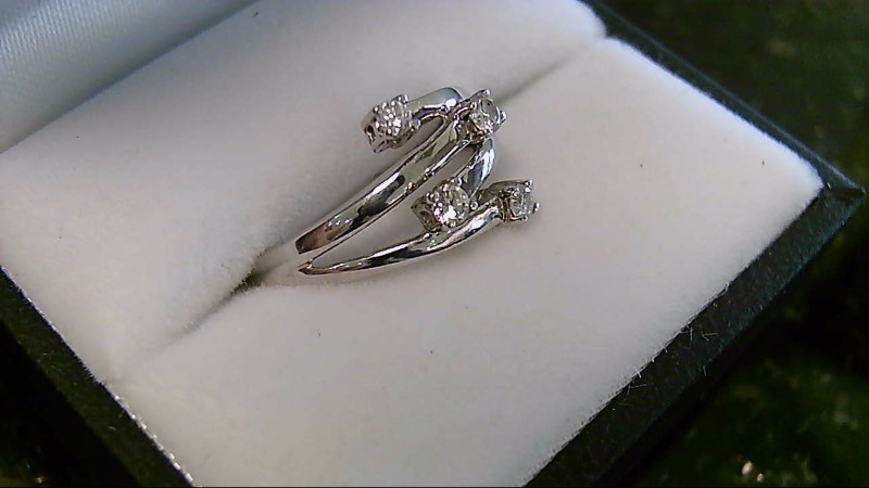 Lady's 14K White Gold 4 Diamond Fashion Ring Sz 6