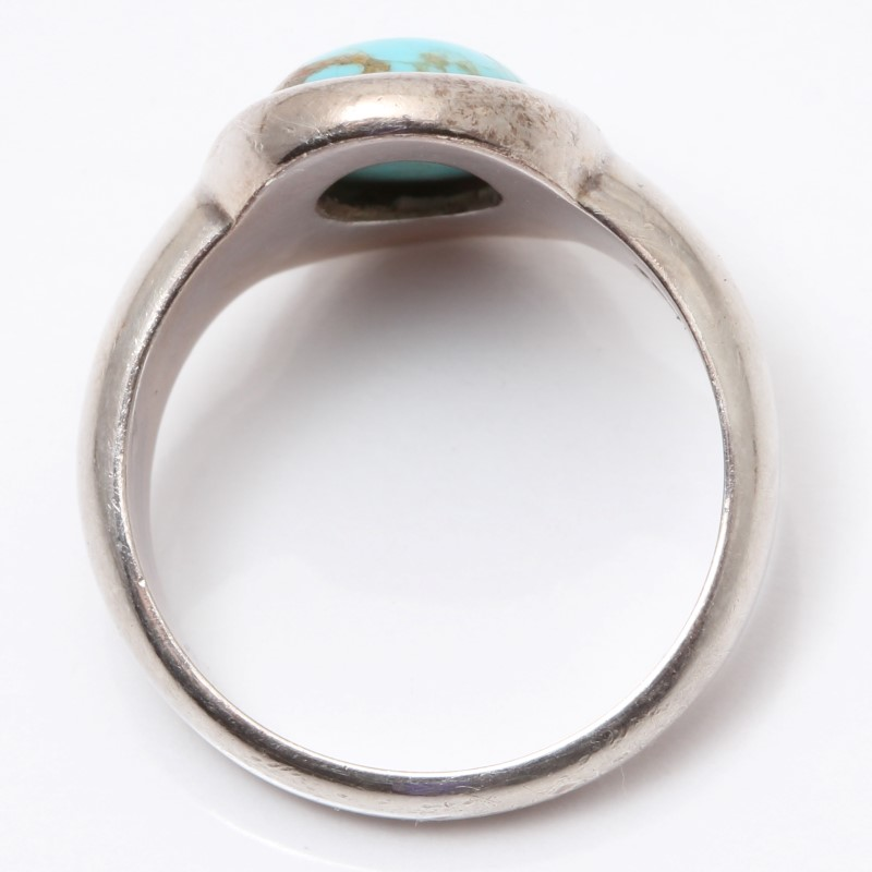 Sterling Silver Oval Cut Turquoise Ring Size 7