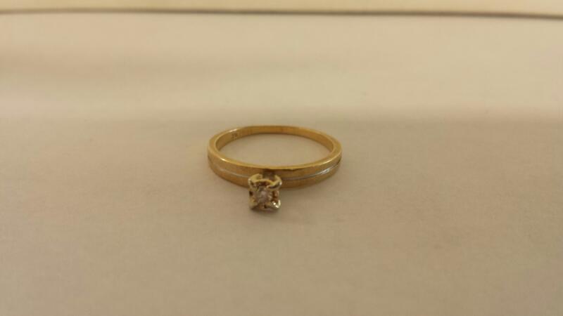 Lds 14K YG Diamond Engagement Ring 1-Rd Brilliant Cut Diamond