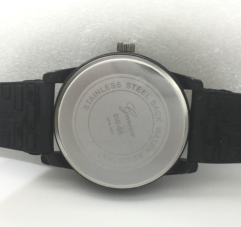 Geneva SW-88 Black & White Japan Movt Adjustable Band Watch