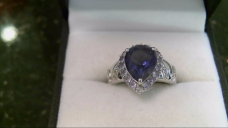 Lady's 14k white gold pear iolite diamond ring